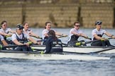 The Cancer Research UK Boat Race season 2017 - Women's Boat Race Fixture OUWBC vs Molesey BC: OUWBC with a lead of around half a length in the milepost area. River Thames between Putney Bridge and Mortlake, London SW15,  United Kingdom, on 19 March 2017 at 16:03, image #67