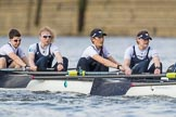 The Cancer Research UK Boat Race season 2017 - Women's Boat Race Fixture OUWBC vs Molesey BC: The OUWBC boat, here bow Alice Roberts, 2 Beth Bridgman, 3 Rebecca Te Water Naude, 4 Rebecca Esselstein. River Thames between Putney Bridge and Mortlake, London SW15,  United Kingdom, on 19 March 2017 at 16:03, image #69