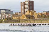 The Cancer Research UK Boat Race season 2017 - Women's Boat Race Fixture OUWBC vs Molesey BC: OUWBC still in the lead in the Harrods Repository area. River Thames between Putney Bridge and Mortlake, London SW15,  United Kingdom, on 19 March 2017 at 16:04, image #70