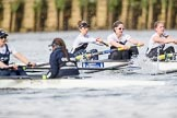 The Cancer Research UK Boat Race season 2017 - Women's Boat Race Fixture OUWBC vs Molesey BC: OUWBC extending their lead, in the Molesey boat bow Emma McDonald, 2 Caitlin Boyland, 3 Lucy Primmer. River Thames between Putney Bridge and Mortlake, London SW15,  United Kingdom, on 19 March 2017 at 16:04, image #76