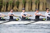 The Cancer Research UK Boat Race season 2017 - Women's Boat Race Fixture OUWBC vs Molesey BC: The Molesey boat, here 5 Katie Bartlett, 6 Elo Luik, 7 Gabriella Rodriguez, stroke Ruth Whyman. River Thames between Putney Bridge and Mortlake, London SW15,  United Kingdom, on 19 March 2017 at 16:04, image #77