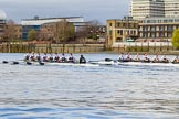 The Cancer Research UK Boat Race season 2017 - Women's Boat Race Fixture OUWBC vs Molesey BC: OUWBC extending their lead further at Palace Wharf. River Thames between Putney Bridge and Mortlake, London SW15,  United Kingdom, on 19 March 2017 at 16:05, image #79