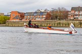 The Cancer Research UK Boat Race season 2017 - Women's Boat Race Fixture OUWBC vs Molesey BC: Umpire Sarah Winckless following the boats in the umpire's launch Sarahanne. River Thames between Putney Bridge and Mortlake, London SW15,  United Kingdom, on 19 March 2017 at 16:05, image #81