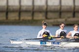 The Cancer Research UK Boat Race season 2017 - Women's Boat Race Fixture OUWBC vs Molesey BC: The Molesey boat, here bow Emma McDonald, 2 Caitlin Boyland, 3 Lucy Primmer. River Thames between Putney Bridge and Mortlake, London SW15,  United Kingdom, on 19 March 2017 at 16:05, image #86