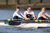 The Cancer Research UK Boat Race season 2017 - Women's Boat Race Fixture OUWBC vs Molesey BC: The Molesey boat, here bow Emma McDonald, 2 Caitlin Boyland, 3 Lucy Primmer. River Thames between Putney Bridge and Mortlake, London SW15,  United Kingdom, on 19 March 2017 at 16:05, image #87