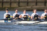 The Cancer Research UK Boat Race season 2017 - Women's Boat Race Fixture OUWBC vs Molesey BC: The Molesey boat, here bow Emma McDonald, 2 Caitlin Boyland, 3 Lucy Primmer, 4 Claire McKeown, 5 Katie Bartlett. River Thames between Putney Bridge and Mortlake, London SW15,  United Kingdom, on 19 March 2017 at 16:05, image #88