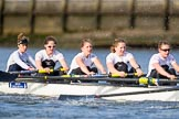 The Cancer Research UK Boat Race season 2017 - Women's Boat Race Fixture OUWBC vs Molesey BC: The Molesey boat, here bow Emma McDonald, 2 Caitlin Boyland, 3 Lucy Primmer, 4 Claire McKeown, 5 Katie Bartlett. River Thames between Putney Bridge and Mortlake, London SW15,  United Kingdom, on 19 March 2017 at 16:05, image #89