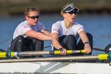 The Cancer Research UK Boat Race season 2017 - Women's Boat Race Fixture OUWBC vs Molesey BC: The Molesey boat, here 5 Katie Bartlett, 6 Elo Luik. River Thames between Putney Bridge and Mortlake, London SW15,  United Kingdom, on 19 March 2017 at 16:05, image #92