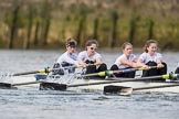 The Cancer Research UK Boat Race season 2017 - Women's Boat Race Fixture OUWBC vs Molesey BC: The Molesey boat, here bow Emma McDonald, 2 Caitlin Boyland, 3 Lucy Primmer, 4 Claire McKeown. River Thames between Putney Bridge and Mortlake, London SW15,  United Kingdom, on 19 March 2017 at 16:06, image #94