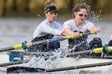The Cancer Research UK Boat Race season 2017 - Women's Boat Race Fixture OUWBC vs Molesey BC: The Molesey boat, here bow Emma McDonald, 2 Caitlin Boyland. River Thames between Putney Bridge and Mortlake, London SW15,  United Kingdom, on 19 March 2017 at 16:06, image #95