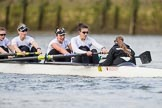 The Cancer Research UK Boat Race season 2017 - Women's Boat Race Fixture OUWBC vs Molesey BC: The Molesey boat, here 5 Katie Bartlett, 6 Elo Luik, 7 Gabriella Rodriguez, stroke Ruth Whyman, cox Anna Corderoy. River Thames between Putney Bridge and Mortlake, London SW15,  United Kingdom, on 19 March 2017 at 16:06, image #96