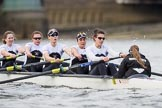 The Cancer Research UK Boat Race season 2017 - Women's Boat Race Fixture OUWBC vs Molesey BC: The Molesey boat, here 4 Claire McKeown, 5 Katie Bartlett, 6 Elo Luik, 7 Gabriella Rodriguez, stroke Ruth Whyman, cox Anna Corderoy. River Thames between Putney Bridge and Mortlake, London SW15,  United Kingdom, on 19 March 2017 at 16:07, image #99
