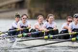 The Cancer Research UK Boat Race season 2017 - Women's Boat Race Fixture OUWBC vs Molesey BC: The Molesey boat, here bow Emma McDonald, 2 Caitlin Boyland, 3 Lucy Primmer, 4 Claire McKeown, 5 Katie Bartlett, 6 Elo Luik. River Thames between Putney Bridge and Mortlake, London SW15,  United Kingdom, on 19 March 2017 at 16:07, image #100