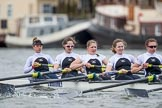 The Cancer Research UK Boat Race season 2017 - Women's Boat Race Fixture OUWBC vs Molesey BC: The Molesey boat, here bow Emma McDonald, 2 Caitlin Boyland, 3 Lucy Primmer, 4 Claire McKeown, 5 Katie Bartlett. River Thames between Putney Bridge and Mortlake, London SW15,  United Kingdom, on 19 March 2017 at 16:08, image #105