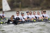 The Cancer Research UK Boat Race season 2017 - Women's Boat Race Fixture OUWBC vs Molesey BC: The Molesey Eight, a bit behind OUWBC - cox Anna Corderoy, stroke Ruth Whyman, 7 Gabriella Rodriguez, 6 Elo Luik, 5 Katie Bartlett, 4 Claire McKeown, 3 Lucy Primmer, 2 Caitlin Boyland, bow Emma McDonald. River Thames between Putney Bridge and Mortlake, London SW15,  United Kingdom, on 19 March 2017 at 16:09, image #107