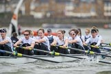 The Cancer Research UK Boat Race season 2017 - Women's Boat Race Fixture OUWBC vs Molesey BC: The Molesey Eight, a bit behind OUWBC - 6 Elo Luik, 5 Katie Bartlett, 4 Claire McKeown, 3 Lucy Primmer, 2 Caitlin Boyland, bow Emma McDonald. River Thames between Putney Bridge and Mortlake, London SW15,  United Kingdom, on 19 March 2017 at 16:10, image #110