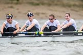 The Cancer Research UK Boat Race season 2017 - Women's Boat Race Fixture OUWBC vs Molesey BC: The Molesey boat, here 7 Gabriella Rodriguez, 6 Elo Luik, 5 Katie Bartlett, 4 Claire McKeown. River Thames between Putney Bridge and Mortlake, London SW15,  United Kingdom, on 19 March 2017 at 16:11, image #121