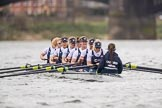 The Cancer Research UK Boat Race season 2017 - Women's Boat Race Fixture OUWBC vs Molesey BC: OUWBC waiting for the start to the second part of the fixture - bow Alice Roberts, 2 Beth Bridgman, 3 Rebecca Te Water Naude, 4 Rebecca Esselstein, 5 Chloe Laverack, 6 Harriet Austin, 7 Jenna Hebert, stroke Emily Cameron, cox Eleanor Shearer. River Thames between Putney Bridge and Mortlake, London SW15,  United Kingdom, on 19 March 2017 at 16:20, image #124