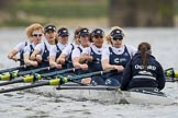 The Cancer Research UK Boat Race season 2017 - Women's Boat Race Fixture OUWBC vs Molesey BC: OUWBC starting at the second part of the fixture - bow Alice Roberts, 2 Beth Bridgman, 3 Rebecca Te Water Naude, 4 Rebecca Esselstein, 5 Chloe Laverack, 6 Harriet Austin, 7 Jenna Hebert, stroke Emily Cameron, cox Eleanor Shearer. River Thames between Putney Bridge and Mortlake, London SW15,  United Kingdom, on 19 March 2017 at 16:21, image #126