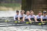 The Cancer Research UK Boat Race season 2017 - Women's Boat Race Fixture OUWBC vs Molesey BC: Molesey at Barnes Railway Bridge - bow Emma McDonald, 2 Caitlin Boyland, 3 Lucy Primmer, 4 Claire McKeown, 5 Katie Bartlett, 6 Elo Luik. River Thames between Putney Bridge and Mortlake, London SW15,  United Kingdom, on 19 March 2017 at 16:22, image #138