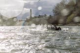 The Cancer Research UK Boat Race season 2017 - Women's Boat Race Fixture OUWBC vs Molesey BC: OUWBC, on the very left, and Molesy in choppy waters. River Thames between Putney Bridge and Mortlake, London SW15,  United Kingdom, on 19 March 2017 at 16:23, image #145