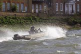 The Cancer Research UK Boat Race season 2017 - Women's Boat Race Fixture OUWBC vs Molesey BC: A coaches tin boat in very choppy waters. River Thames between Putney Bridge and Mortlake, London SW15,  United Kingdom, on 19 March 2017 at 16:23, image #147