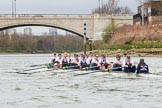 The Cancer Research UK Boat Race season 2017 - Women's Boat Race Fixture OUWBC vs Molesey BC: OUWBC half a length behind Molesey just before the finish line  - bow Alice Roberts, 2 Beth Bridgman, 3 Rebecca Te Water Naude, 4 Rebecca Esselstein, 5 Chloe Laverack, 6 Harriet Austin, 7 Jenna Hebert, stroke Emily Cameron, cox Eleanor Shearer. River Thames between Putney Bridge and Mortlake, London SW15,  United Kingdom, on 19 March 2017 at 16:25, image #158