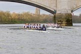 The Cancer Research UK Boat Race season 2017 - Women's Boat Race Fixture OUWBC vs Molesey BC: At the finish line of the second part of the fixture, Molesey is about a length ahead of Oxford. River Thames between Putney Bridge and Mortlake, London SW15,  United Kingdom, on 19 March 2017 at 16:26, image #164