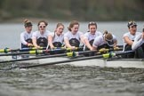 The Cancer Research UK Boat Race season 2017 - Women's Boat Race Fixture OUWBC vs Molesey BC: Victory for Molesey - bow Emma McDonald, 2 Caitlin Boyland, 3 Lucy Primmer, 4 Claire McKeown, 5 Katie Bartlett, 6 Elo Luik, 7 Gabriella Rodriguez, stroke Ruth Whyman, cox Anna Corderoy. River Thames between Putney Bridge and Mortlake, London SW15,  United Kingdom, on 19 March 2017 at 16:26, image #165