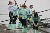 The Boat Race season 2018 - Women's Boat Race Trial Eights (CUWBC, Cambridge): The crew of Expecto Patronum at the Putney boathouses. River Thames between Putney Bridge and Mortlake, London SW15,  United Kingdom, on 05 December 2017 at 12:00, image #1