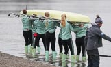 The Boat Race season 2018 - Women's Boat Race Trial Eights (CUWBC, Cambridge): The crew of Wingardium Leviosa at the Putney boathouses. River Thames between Putney Bridge and Mortlake, London SW15,  United Kingdom, on 05 December 2017 at 12:00, image #2
