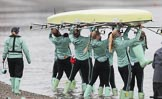 The Boat Race season 2018 - Women's Boat Race Trial Eights (CUWBC, Cambridge): The crew of Wingardium Leviosa at the Putney boathouses. River Thames between Putney Bridge and Mortlake, London SW15,  United Kingdom, on 05 December 2017 at 12:00, image #3