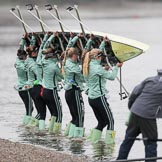 The Boat Race season 2018 - Women's Boat Race Trial Eights (CUWBC, Cambridge): The crew of Wingardium Leviosa at the Putney boathouses. River Thames between Putney Bridge and Mortlake, London SW15,  United Kingdom, on 05 December 2017 at 12:00, image #4