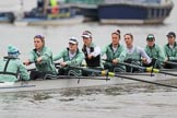 The Boat Race season 2018 - Women's Boat Race Trial Eights (CUWBC, Cambridge): Expecto Patronum with cox-Sophie Shapter, stroke-Alice White,  7-Abigail Parker, 6-Thea Zabell, 5-Kelsey Barolak, 4-Laura Foster, 3-Sally O Brien, 2-Millie Perrin. River Thames between Putney Bridge and Mortlake, London SW15,  United Kingdom, on 05 December 2017 at 12:03, image #10