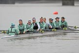 The Boat Race season 2018 - Women's Boat Race Trial Eights (CUWBC, Cambridge): Wingardium Leviosa with Cox-Sophie Wrixon, stroke-Imogen Grant, 7-Myriam Goudet-Boukhatmi, 6-Larkin Sayre, 5-Tricia Smith, 4-Emma Andrews, 3-Pippa Darkin, 2-Sarah Carlotti, bow-Lucy Pike. River Thames between Putney Bridge and Mortlake, London SW15,  United Kingdom, on 05 December 2017 at 12:03, image #11