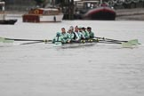 The Boat Race season 2018 - Women's Boat Race Trial Eights (CUWBC, Cambridge): Wingardium Leviosa with Cox-Sophie Wrixon, stroke-Imogen Grant, 7-Myriam Goudet-Boukhatmi, 6-Larkin Sayre, 5-Tricia Smith, 4-Emma Andrews, 3-Pippa Darkin, 2-Sarah Carlotti, bow-Lucy Pike. River Thames between Putney Bridge and Mortlake, London SW15,  United Kingdom, on 05 December 2017 at 12:03, image #12