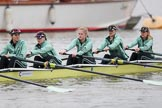 The Boat Race season 2018 - Women's Boat Race Trial Eights (CUWBC, Cambridge): Wingardium Leviosa with 5-Tricia Smith, 4-Emma Andrews, 3-Pippa Darkin, 2-Sarah Carlotti, bow-Lucy Pike. River Thames between Putney Bridge and Mortlake, London SW15,  United Kingdom, on 05 December 2017 at 12:04, image #25