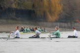 The Boat Race season 2018 - Women's Boat Race Trial Eights (CUWBC, Cambridge): Expecto Patronu, here 5 Kelsey Barolak, 4 Laura Foster, 3 Sally O Brien, 2 Millie Perrin. River Thames between Putney Bridge and Mortlake, London SW15,  United Kingdom, on 05 December 2017 at 12:23, image #26