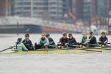 The Boat Race season 2018 - Women's Boat Race Trial Eights (CUWBC, Cambridge): Wingardium Leviosa with Cox-Sophie Wrixon, stroke-Imogen Grant, 7-Myriam Goudet-Boukhatmi, 6-Larkin Sayre, 5-Tricia Smith, 4-Emma Andrews, 3-Pippa Darkin, 2-Sarah Carlotti, bow-Lucy Pike. River Thames between Putney Bridge and Mortlake, London SW15,  United Kingdom, on 05 December 2017 at 12:26, image #31