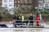 The Boat Race season 2018 - Women's Boat Race Trial Eights (CUWBC, Cambridge): The boat of race umpire Sir Matthew Pinsent. River Thames between Putney Bridge and Mortlake, London SW15,  United Kingdom, on 05 December 2017 at 12:30, image #32