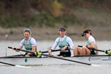The Boat Race season 2018 - Women's Boat Race Trial Eights (CUWBC, Cambridge): Expecto Patronum: 3-Sally O Brien, 2-Millie Perrin, bow-Eve Caroe. River Thames between Putney Bridge and Mortlake, London SW15,  United Kingdom, on 05 December 2017 at 12:37, image #34