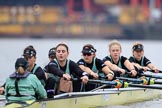 The Boat Race season 2018 - Women's Boat Race Trial Eights (CUWBC, Cambridge): Wingardium Leviosa with Cox-Sophie Wrixon, stroke-Imogen Grant, 7-Myriam Goudet-Boukhatmi, 6-Larkin Sayre, 5-Tricia Smith, 4-Emma Andrews, 3-Pippa Darkin, 2-Sarah Carlotti, bow-Lucy Pike. River Thames between Putney Bridge and Mortlake, London SW15,  United Kingdom, on 05 December 2017 at 12:37, image #38