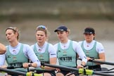 The Boat Race season 2018 - Women's Boat Race Trial Eights (CUWBC, Cambridge): Expecto Patronu, here 4 Laura Foster, 3 Sally O Brien, 2 Millie Perrin, bow Eve Caroe. River Thames between Putney Bridge and Mortlake, London SW15,  United Kingdom, on 05 December 2017 at 12:38, image #43
