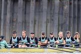 The Boat Race season 2018 - Women's Boat Race Trial Eights (CUWBC, Cambridge): Wingardium Leviosa with Cox-Sophie Wrixon, stroke-Imogen Grant, 7-Myriam Goudet-Boukhatmi, 6-Larkin Sayre, 5-Tricia Smith, 4-Emma Andrews, 3-Pippa Darkin, 2-Sarah Carlotti, bow-Lucy Pike. River Thames between Putney Bridge and Mortlake, London SW15,  United Kingdom, on 05 December 2017 at 12:40, image #46