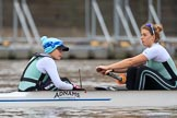 The Boat Race season 2018 - Women's Boat Race Trial Eights (CUWBC, Cambridge): Expecto Patronum at the start line, here cox Sophie Shapter, stroke Alice White. River Thames between Putney Bridge and Mortlake, London SW15,  United Kingdom, on 05 December 2017 at 12:43, image #51