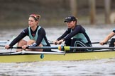 The Boat Race season 2018 - Women's Boat Race Trial Eights (CUWBC, Cambridge): Wingardium Leviosa, here 7 Myriam Goudet-Boukhatmi, 6 Larkin Sayre. River Thames between Putney Bridge and Mortlake, London SW15,  United Kingdom, on 05 December 2017 at 12:43, image #54