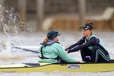 The Boat Race season 2018 - Women's Boat Race Trial Eights (CUWBC, Cambridge): Wingardium Leviosa  after the start of the race, here cox Sophie Wrixon, strok -Imogen Grant. River Thames between Putney Bridge and Mortlake, London SW15,  United Kingdom, on 05 December 2017 at 12:43, image #55