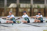 The Boat Race season 2018 - Women's Boat Race Trial Eights (CUWBC, Cambridge): Expecto Patronum after the start of the race, here 3 Sally O Brien, 2 Millie Perrin, bow Eve Caroe. River Thames between Putney Bridge and Mortlake, London SW15,  United Kingdom, on 05 December 2017 at 12:43, image #56