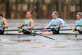 The Boat Race season 2018 - Women's Boat Race Trial Eights (CUWBC, Cambridge): Expecto Patronum after the start of the race, here 6 Thea Zabell, 5 Kelsey Barolak, 4 Laura Foster, 3 Sally O Brien. River Thames between Putney Bridge and Mortlake, London SW15,  United Kingdom, on 05 December 2017 at 12:43, image #57