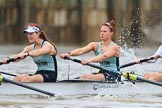 The Boat Race season 2018 - Women's Boat Race Trial Eights (CUWBC, Cambridge): Expecto Patronum after the start of the race, here 6 Thea Zabell, 5 Kelsey Barolak. River Thames between Putney Bridge and Mortlake, London SW15,  United Kingdom, on 05 December 2017 at 12:43, image #58